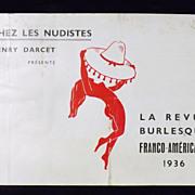 Parisian - Chez Les Nudistes Burlesque Revue Program  1936