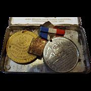 Cadbury 1902 Coronation Tin with Medallions & Tiny Book