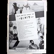 Art Deco 'EGYPT' Travel  Advertisement - The Sphere 1936