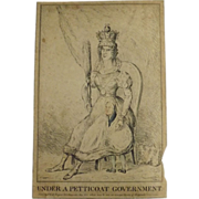 English Political Cartoon 1832 'Under A Petticoat Government'