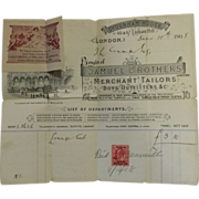 Three Old Samuel Brothers (Merchant Tailors) Receipts, London