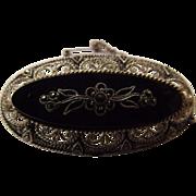 Superb Vintage German Sterling Silver with Onyx Brooch
