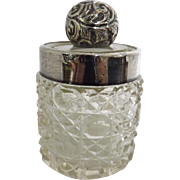 Gorgeous Wee Crystal Cosmetics Pot with Sterling Silver Nob and Rim Hallmarked 1907
