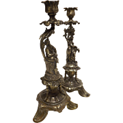 A Pair of Impressive French ROCOCO Candle Sticks - Circa 1900