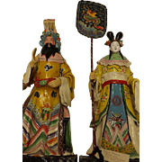 A Pair Of Japanese Sumo Wrestlers - Papier Mache Circa 1930