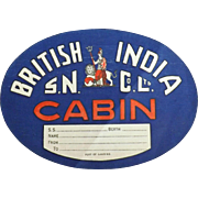Baggage Sticker British India Steam Navigation Co