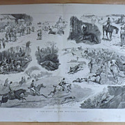 SOLD A Fox-Hunt In The Holiday Season - The Graphic 1887 Double Page