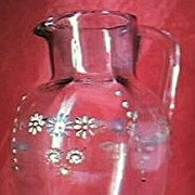 Victorian Hand Painted Glass Milk Jug.