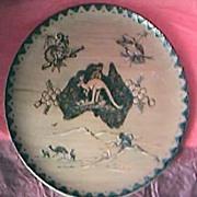Vintage Australian Poker-work Aboriginal Souvenir Wooden Plate