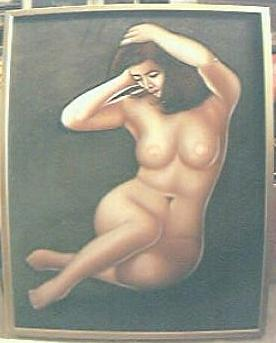 Gorgeous Collectible Nude On Velvet Painting