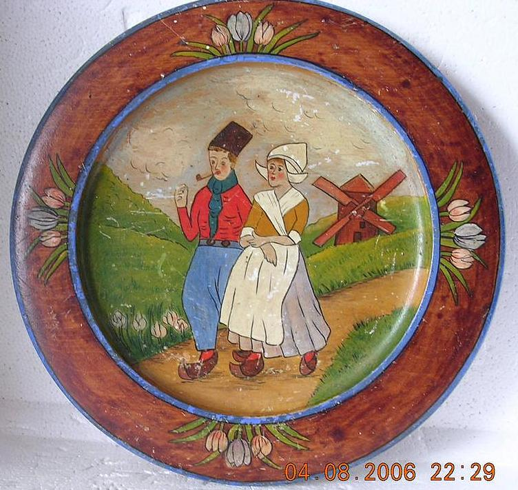 Vintage Dutch Hand Painted Wooden Wall Plate Circa 1910-1920