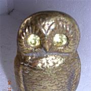 Vintage Brass Owl Vesta Holder Circa 1900