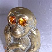 Vintage Brass Monkey Vesta Holder Circa 1900