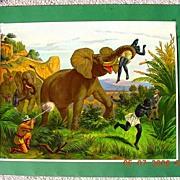 "Stunning German Lithograph ""Hunting Elephant"" Circa 1910"