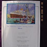 1933 MV Alcantara Dinner Menu Portugese Shipping Line