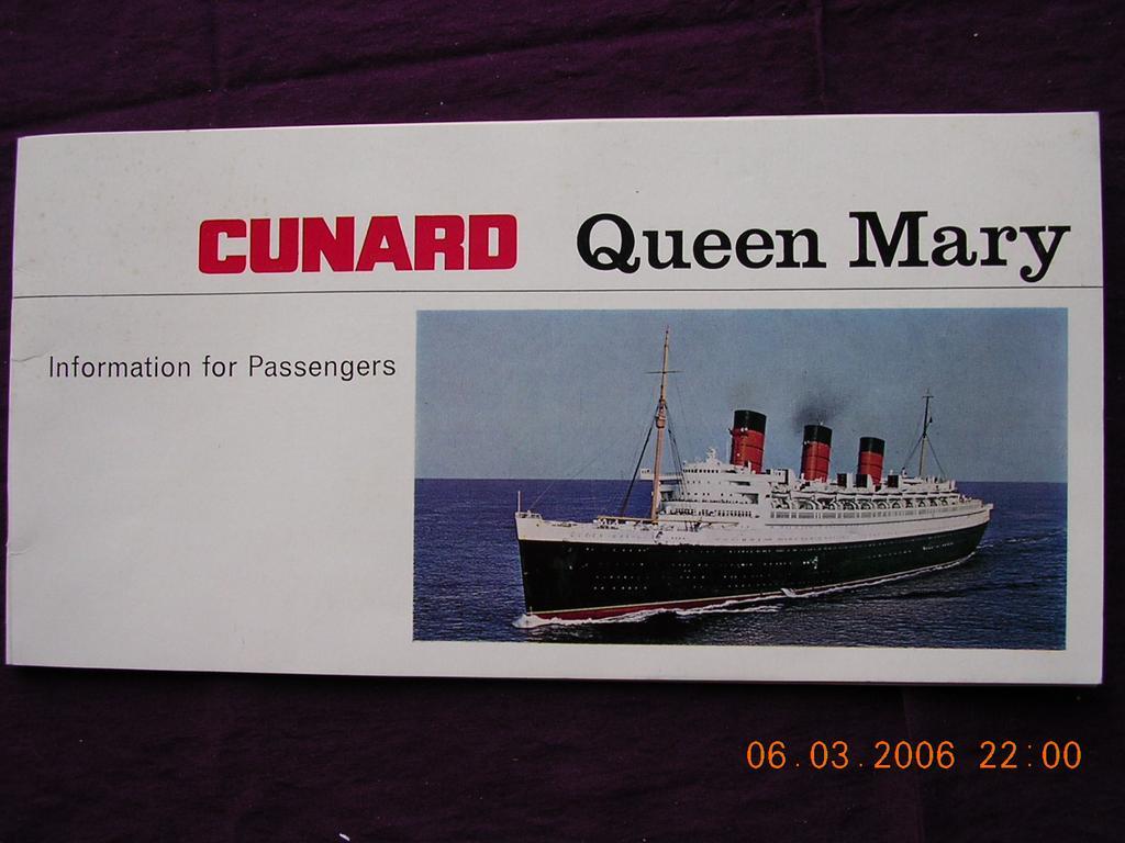 Cunard Liner Queen Mary Passenger Information Booklet 1967