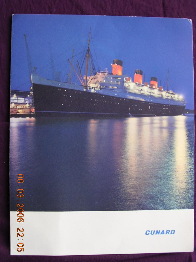 Cunard Liner Queen Mary Menu May 1967