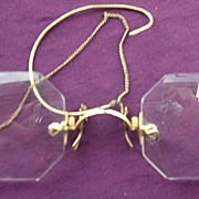 Vintage Square Cut Pinz Nez Spectacles with Case