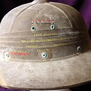 "Rare US NAVY ""Guadalcanal"" WW11 Fibre Sun Helmet"