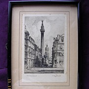 """Original Vintage Charcoal Drawing or Engraving """"The Monument"""" By T. Waghorn"""