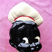 Vintage Black Boy Chef Porcelain Kitchen Wall Pocket