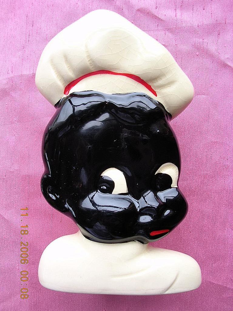 Vintage Black Boy Chef Porcelain Kitchen Wall Pocket