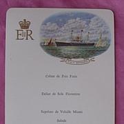 Vintage Souvenir Menu HM Yacht Britannia, Bluff 1966