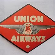 Rare UNION AIRWAYS  New Zealand Airline Baggage Sticker