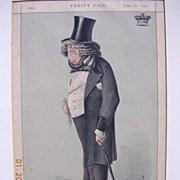 "1877 Framed Lithograph From Vanity Fair Magazine ""STATESMAN No 52"""