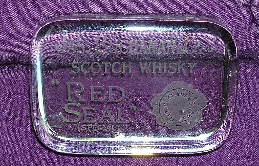"""Vintage Glass Paper Weight """" RED SEAL"""" Brand, Jas Buchanan & Co Scotch Whisky"""