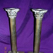 Edwardian Period Corinthian Style Brass Candlesticks