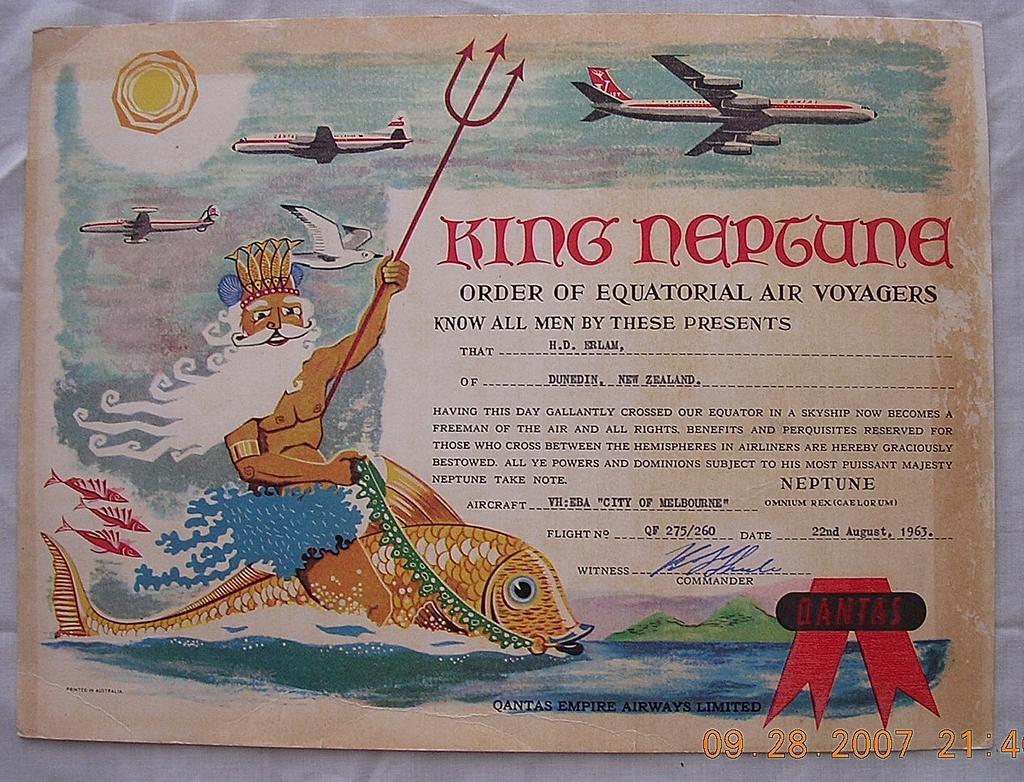 1963 QANTAS EMPIRE AIRWAYS 'King Neptune Equator Crossing Certificate'