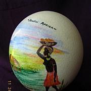 Vintage South African Souvenir  Hand Painted OSTRICH EGG