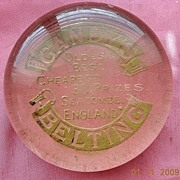 Victorian Advertising Paperweight CANDY'S BELTING Oldest Best Cheapest