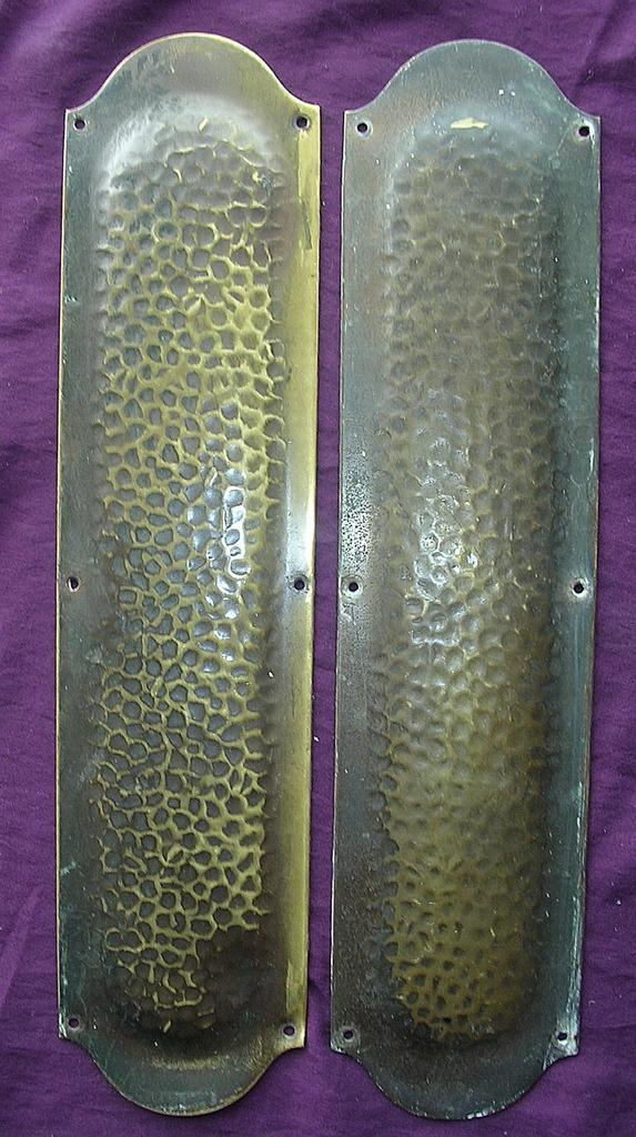 A Rare Pair of Victorian Hammered Bronze Door Push Plates