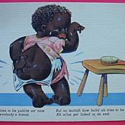 """Vintage Piccaninny Postcard """"Ah Tries To Be Puhlite An' Nice"""""""