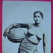 "Vintage Semi-Naked Native Postcard ""Tamil Woman of Malaya"""