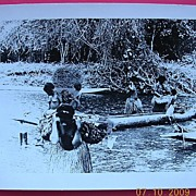 Vintage WW2 New Guinea Native Women Crossing River