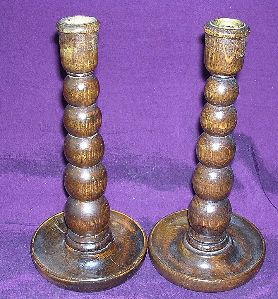Pair of Victorian Wooden Candle Sticks