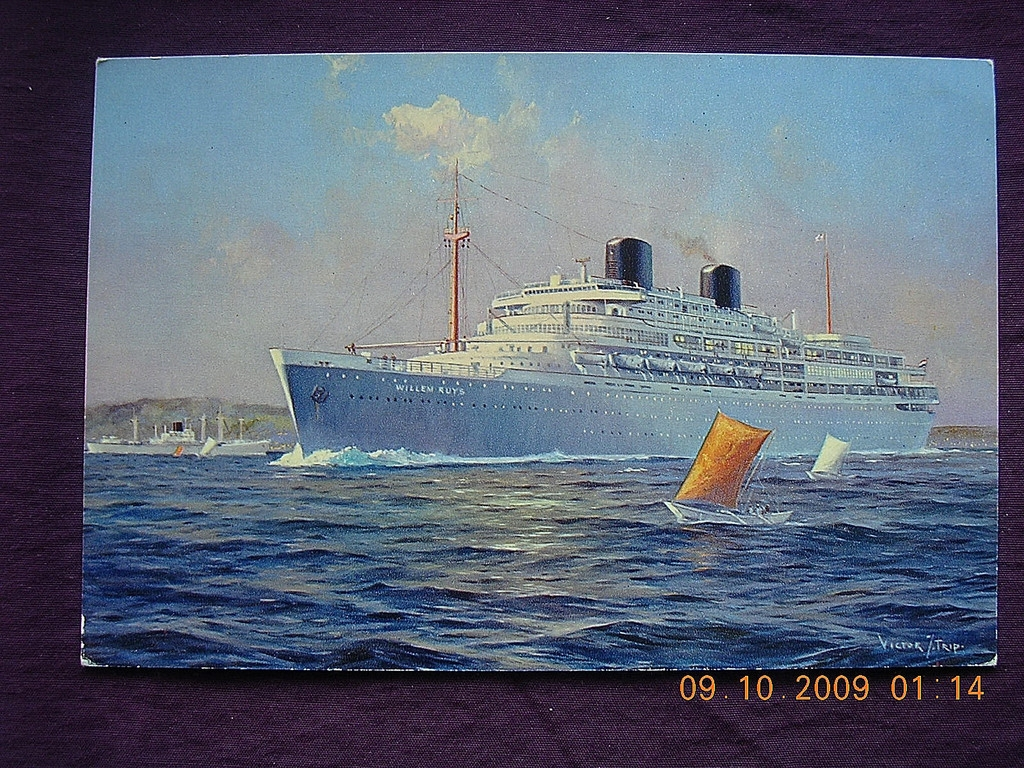 Royal Rotterdam Lloyd 'Willem Ruys' Vintage Postcard