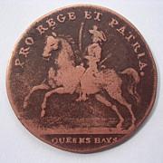 1793 British Military Token 'Queens Bays - Norwich Barracks'