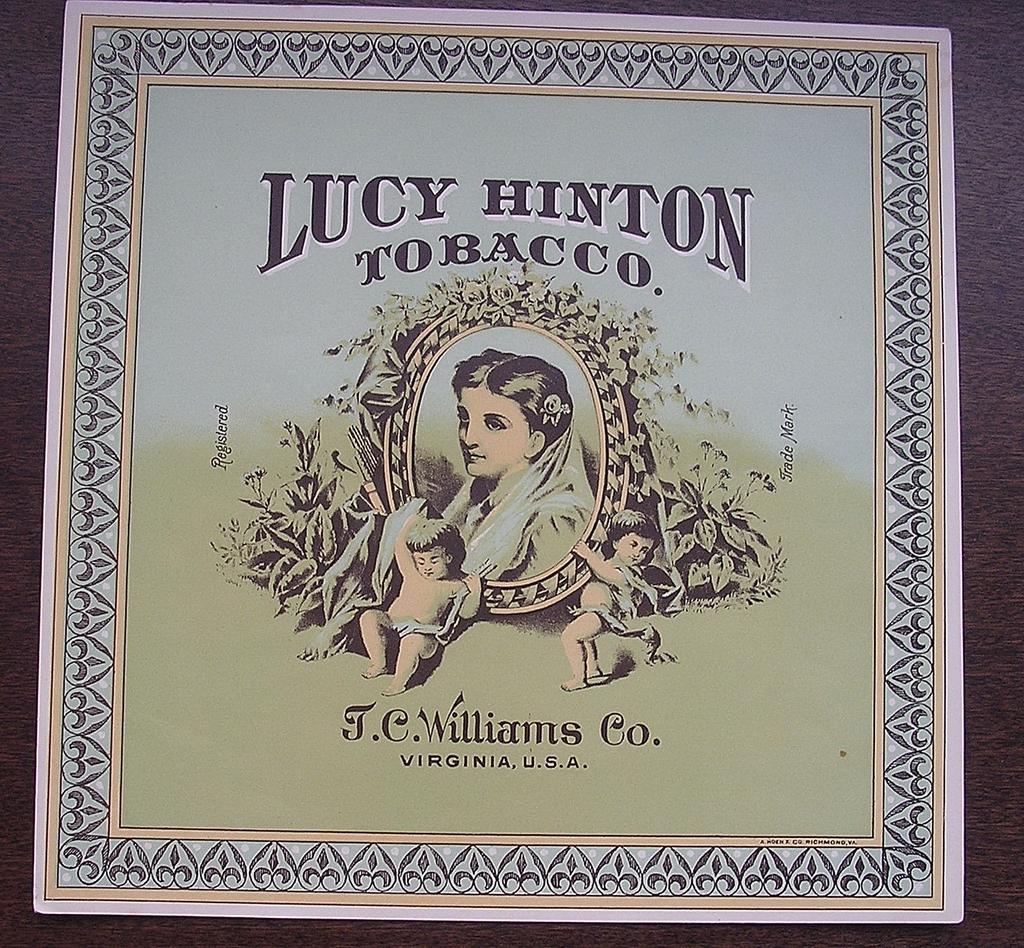 Victorian Tobacco Case Label 'LUCY HINTON Brand'