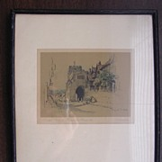 Victorian Hand Coloured Engraving 'West Gate & Leicester Hospital'