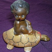 SALE RARE 'Brownie Downing' Aboriginal Child Riding On A Tortoise Circa 1950