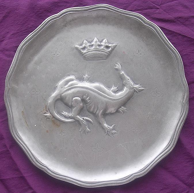 RARE  French  Salamander & Crown  Pewter Plate - Francois First