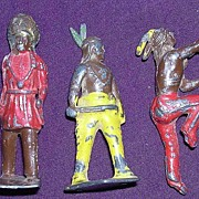 FIVE Old American Indian Lead Figures
