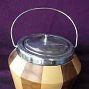 Vintage Two Tone Wooden Biscuit Barrel