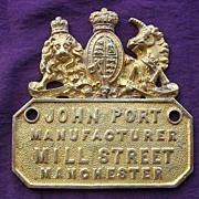 Victorian SAFE Name Plate for JOHN PORT of Manchester