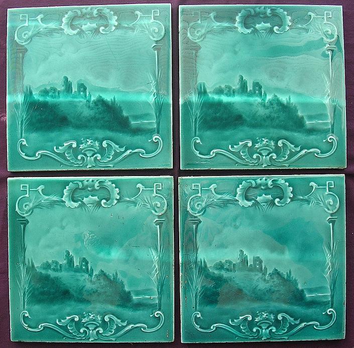 A Set Of Four Stunning Victorian Art Nouveau  PICTORIAL  Porcelain Tiles