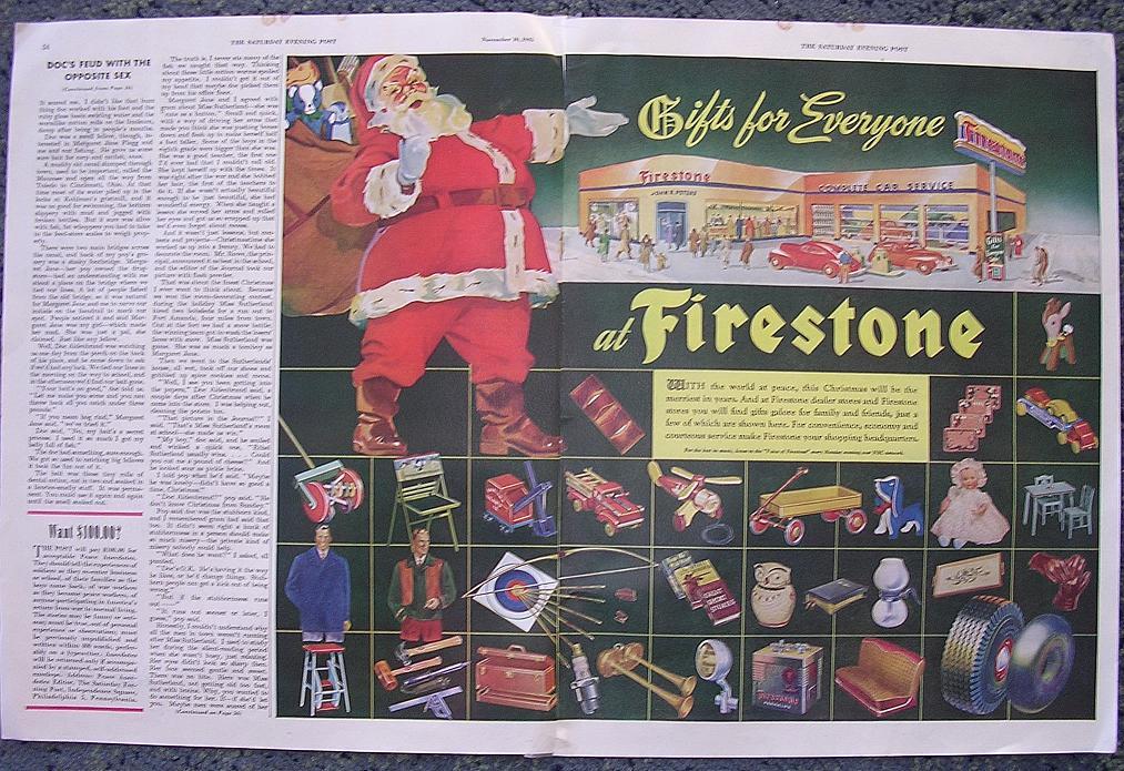 1945 FIRESTONE Double Page Spread Advertisement
